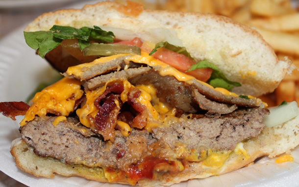 Canada Steak Burger Cheeseburger with Gyros and Bacon