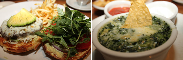 Houston's California Burger, Fries and Chicago Spinach Dip