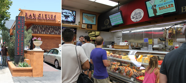 Bay Cities Italian Deli and Bakery Outside and Inside Santa Monica California