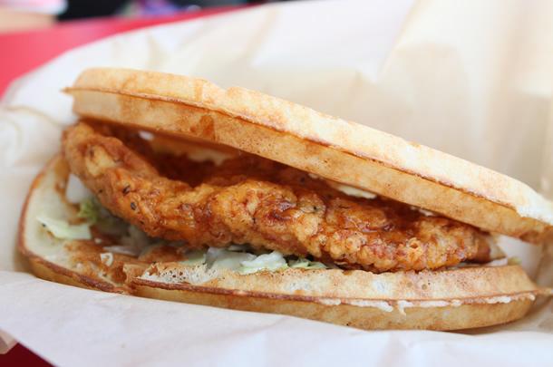 Bruxie Buttermilk Fried Chicken and Waffle Sandwich