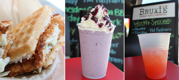 Bruxie Fried Chicken and Waffle Sandwich, Shake and Lemonade