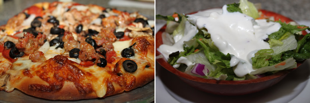 Doria's Haus of Pizza Haus Special and Salad