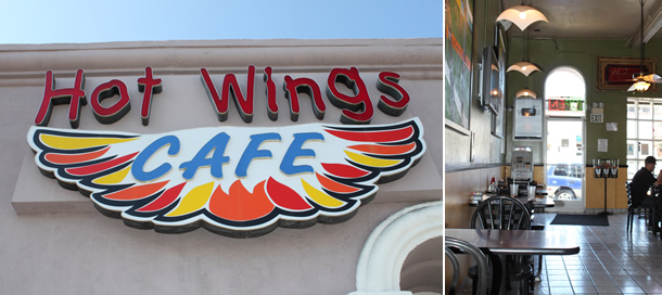 Hot Wings Cafe Los Angeles California Sign