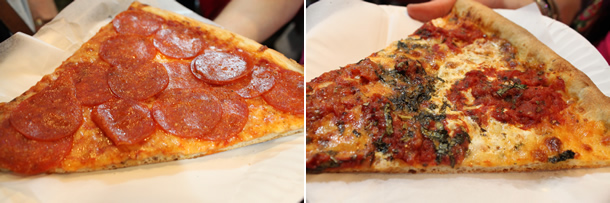 Bleecker Street Pizza New York NY Pepperoni and Nonna Maria Pizza Slice