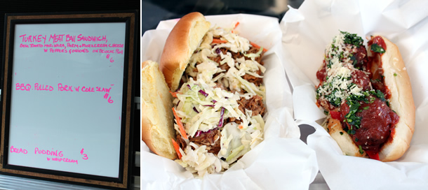 Chop Soo-ey Food Truck BBQ Pulled Pork Sandwich and Turkey Meatball Sandwich