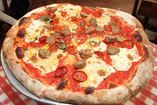 Lombardi's Pizza New York NY Pepperoni and Sausage Pizza