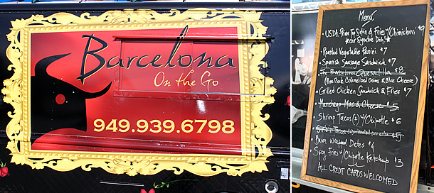 Barcelona Onthego Food Truck Menu