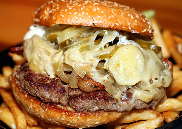 ... grilled onions, crisp bacon, grilled jalapenos, pepperjack cheese, and