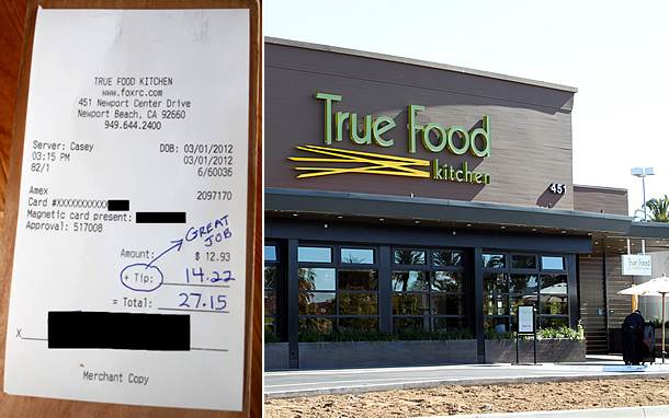 True Food Kitchen Newport Beach California - 110 Percent Tip