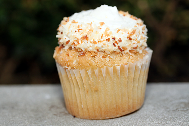 The Beached Coconut vanilla cupcake is soaked in coconut milk and ...